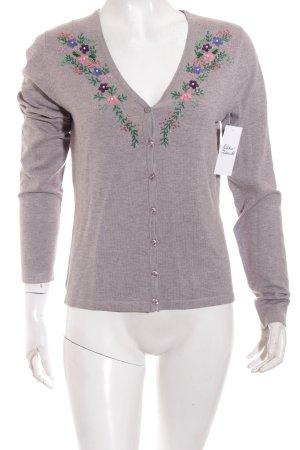 Himmelblau by Lola Paltinger Cardigan florales Muster Perlenverzierung