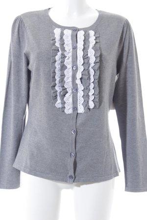 Himmelblau by Lola Paltinger Cardigan grau-weiß meliert Romantik-Look