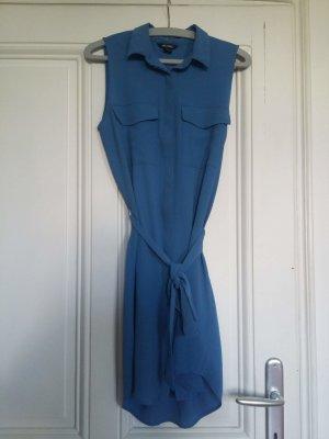 Monki Abito blusa camicia azzurro-blu fiordaliso Materiale sintetico