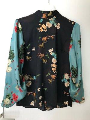 Zara Woman Blusa collo a cravatta multicolore Poliestere