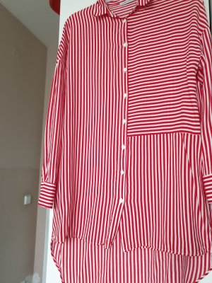 Oversized blouse wit-rood