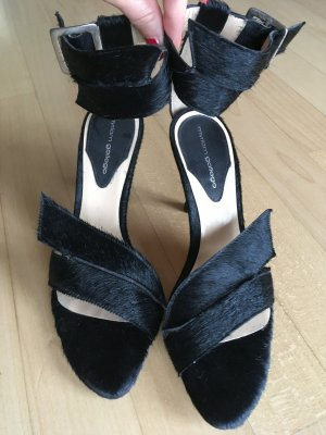 Hingucker Sandaletten schwarz Fell Party Ball Elegant Stiletto