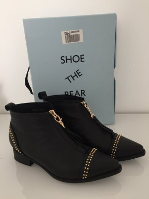 Shoe the Bear Zipper Booties black-gold-colored leather