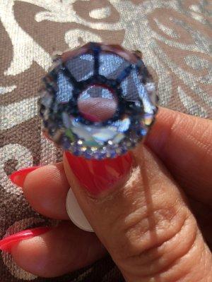 Hinguckerring ! Blauer Kristall Größe 7