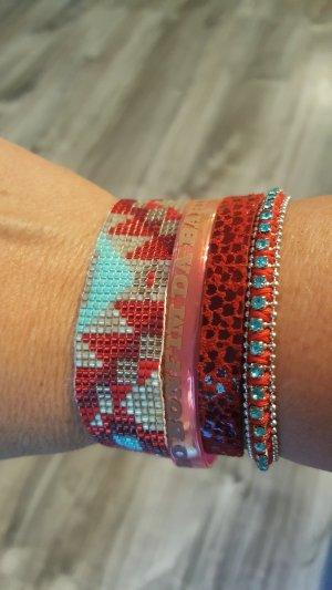 Hipanema Armband 19 cm rot türkis wie neu mit Beutel