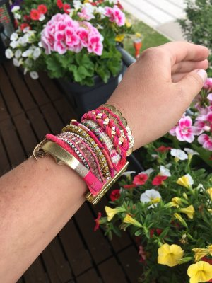 HIPANEMA Armband in pink/gold