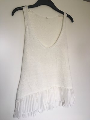Stradivarius Top de ganchillo blanco