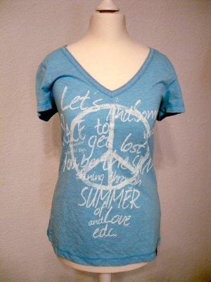 Edc Esprit V-Neck Shirt light blue-white cotton