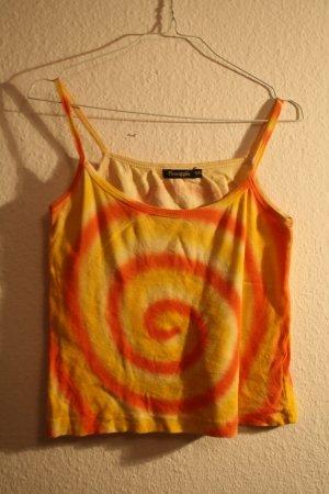 Hippie Batik Top mit Spirale in Gelb und Orange