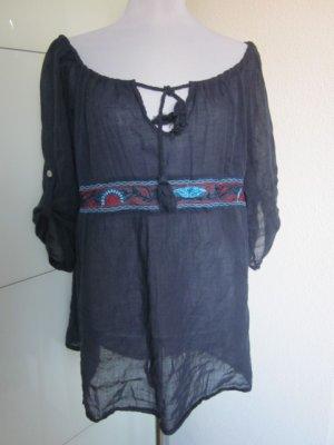 Hippie Bluse dunkelblau Bohoo Ethno Gr L