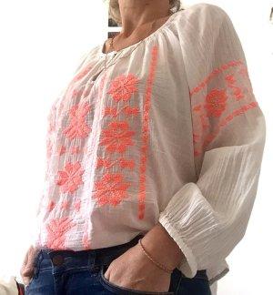 Star mela Tunique-blouse blanc-orange fluo