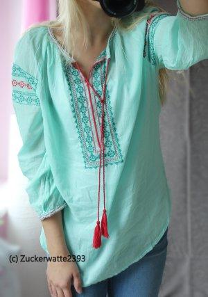 Hippie Bluse Tunika mint/türkis mit roten Kordeln 34/XS <3