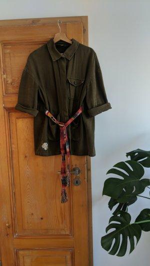 Zara Woman Chaqueta militar verde oliva-caqui