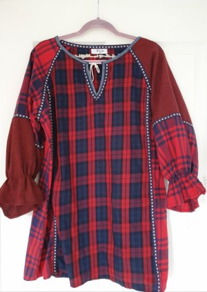 Vestido tipo túnica rojo-azul