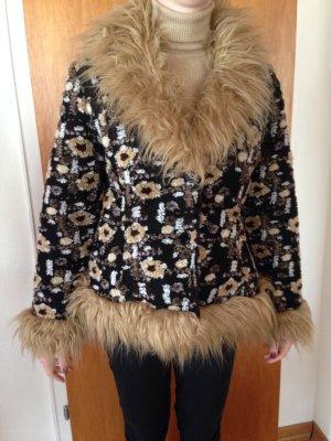 Hippie boho Fake fur webpelz Vintage Jacke kuschlig warm 38/40