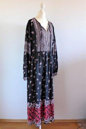 Hippie Boho Folklore Maxi Kleid schwarz weiß rot Muster Feder M 38/40