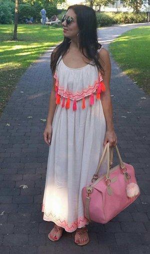 Hippie Boho Kleid Maxikleid Blogger Hipster Einheitsgröße Fransen Quaste Tassel