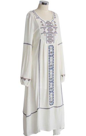 Hippie Boho Sommer Maxi Kleid Gr.36/S Folklore Stickerei Baumwolle Leinen