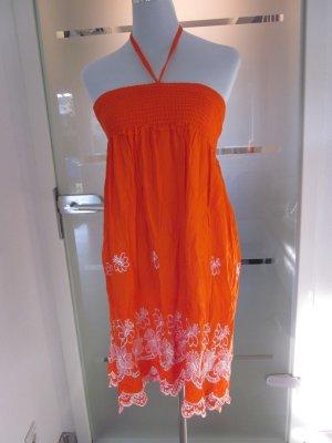 Hippie Bohoo Rock / Kleid Orange Weiss Spitze Gr S