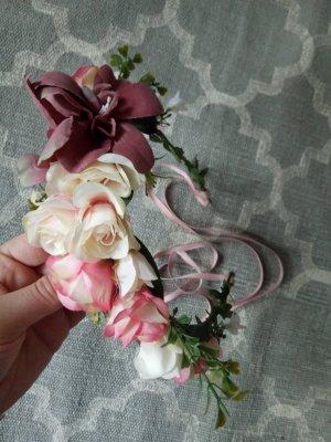 Hippie Festival Blumenband Blumenkranz Haarband Haarkranz Rosa Rose Blumen Brautjungfer