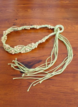Hippie Flechtgürtel mit Holzperlen, Boho Style