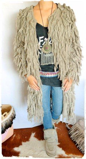 Hippie Fransen Mantel beige passt S bis XL