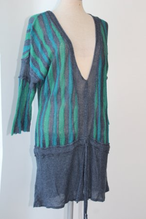 hippie goa ethno Kleid Tunika Horsan grün mini Leinen Viskose Acryl Gr. L
