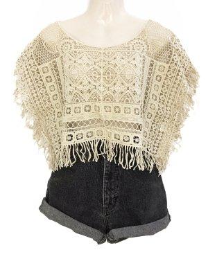 Hippie Häkel Shirt Blumenmuster Crochet Top Bohemian Style