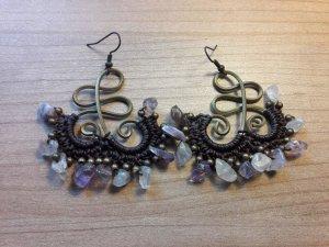Hippie, handmade, Stein Ohrringe