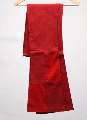 Pantalon pattes d'éléphant rouge foncé-rouge fluo