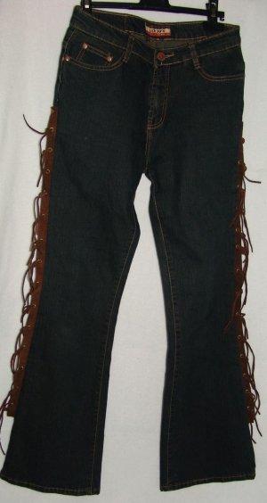 Jeans flare bleu foncé coton