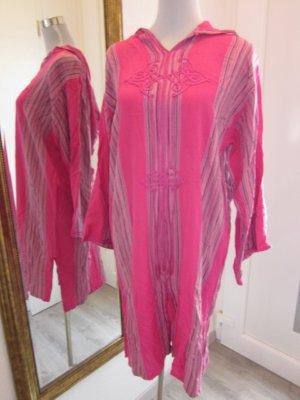 Hippie Kaftan Kleid mit Kaputze Pink Gr L