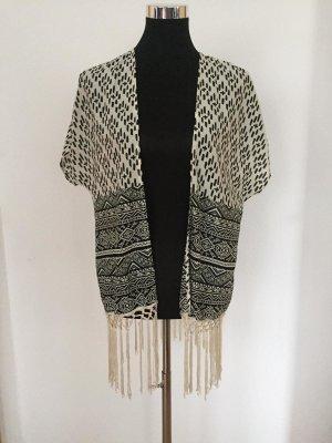 Tally Weijl Fringed Vest white-black mixture fibre