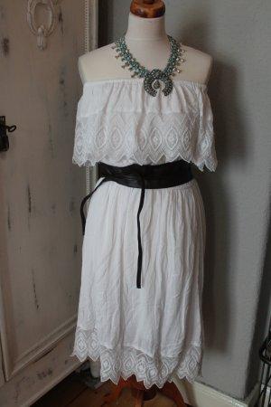 Topshop Robe épaules nues blanc coton