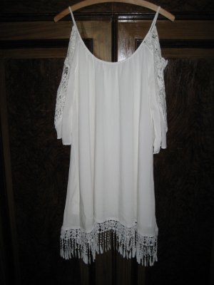 Hippie Kleid mit Häkeldetails weiß Gr. M schulterfrei