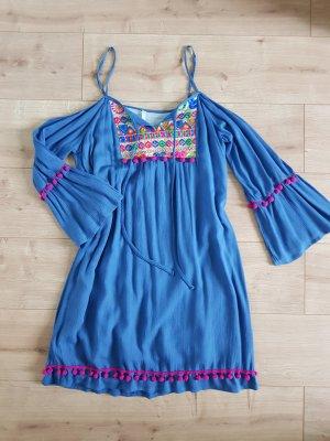 Hippie Dress neon blue-magenta cotton