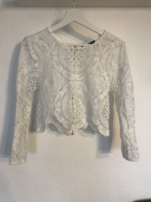 Boohoo Cropped shirt wit
