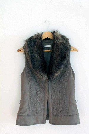 Promod Fur vest brown polyester