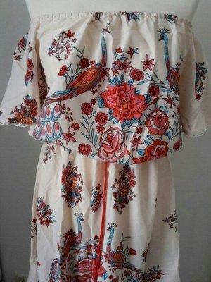 Hippie Maxi Sommer Kleid Blumen Ornamente Volants Vögel Pfau