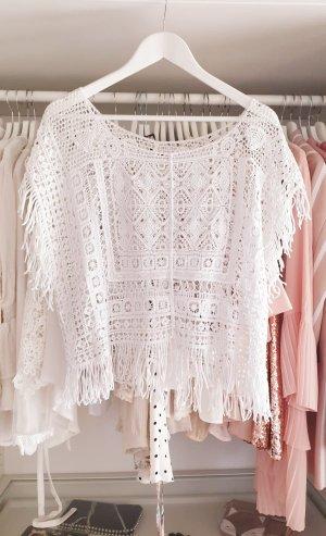 Hippie Oberteil Spitze Fransen Muster Bluse Shirt Weiß S