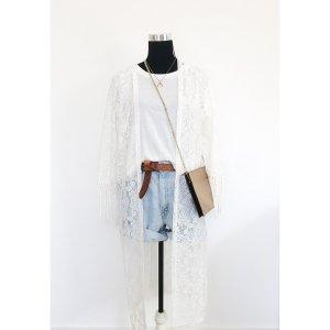 Hippie Spitzen Kimono Jacke mit Fransen im Hippie Festival-Style
