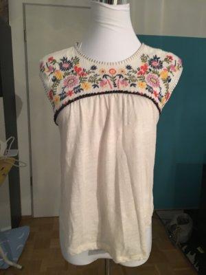 Hippie-Style: Hollister Ärmelloses Shirt mit Blumen-Stickereien, XS