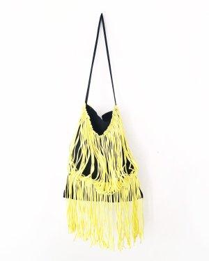 hippie tasche • beutel • bohostyle • schwarz • gelb • fransen