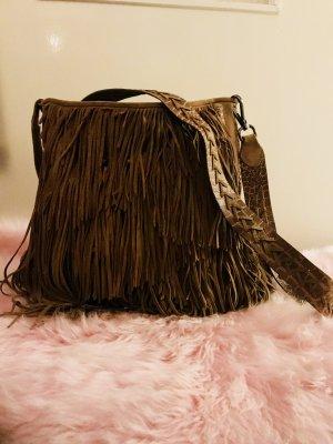 Zara Fringed Bag multicolored suede