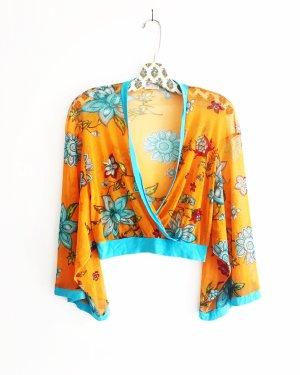 hippie top / bluse / vintage / kimono / orange / türkis / boho / edgy / festival
