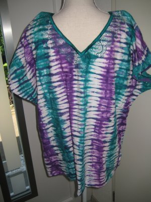 Hippie Tunika Shirt Retro Lila Grün Weiß Batik Gr M/L
