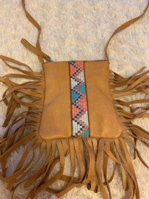 Hippie-Umhänge-Tasche aus Leder von Pieces, Cognac Farben, neu
