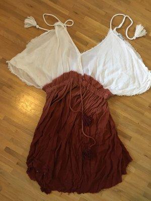 Pull & Bear Abito hippie marrone-bianco