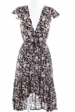 Hippie Dress black-nude flower pattern hippie style