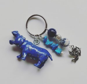 Porte-clés bleu fluo-bleu